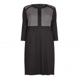 LUISA VIOLA charcoal textured colourblock DRESS - Plus Size Collection