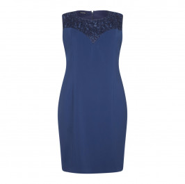 LUISA VIOLA NAVY EMBELLISHED NECK DRESS+STOLE WITH OPTIONAL SLEEVES - Plus Size Collection