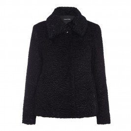 LUISA VIOLA black faux astrakhan JACKET - Plus Size Collection