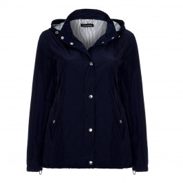 LUISA VIOLA navy showerproof JACKET with hood - Plus Size Collection
