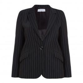 LUISA VIOLA PINSTRIPE BLAZER BLACK - Plus Size Collection
