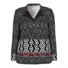 LUISA VIOLA BLACK & WHITE IKAT WEAVE JACKET - Plus Size Collection