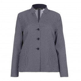 LUISA VIOLA navy textured notch collar JACKET - Plus Size Collection
