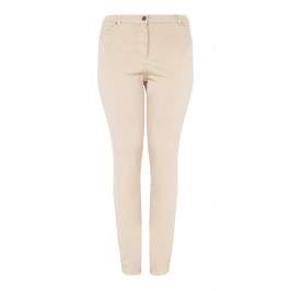 LUISA VIOLA COTTON STRETCH BEIGE 5 POCKET JEAN - Plus Size Collection