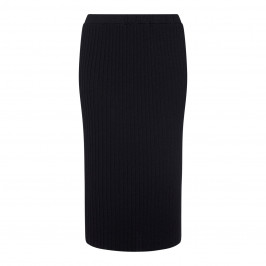 LUISA VIOLA BLACK RIB KNIT LUREX SKIRT  - Plus Size Collection
