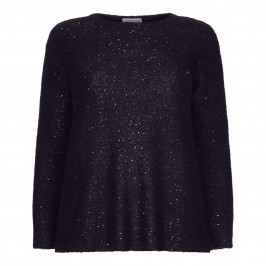 LOUISA VIOLA SEQUIN KNITTED TUNIC NAVY - Plus Size Collection