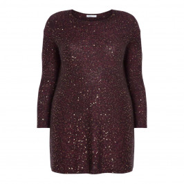 LUISA VIOLA KNITTED SEQUIN TUNIC BORDEAUX - Plus Size Collection