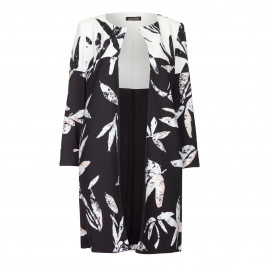 LUISA VIOLA BLACK AND WHITE FLORAL PRINT LONG JACKET  - Plus Size Collection