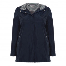 LUISA VIOLA NAVY RAINCOAT STRIPED HOOD - Plus Size Collection
