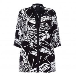 LUISA VIOLA black leaf print SHIRT - Plus Size Collection