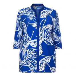 LUISA VIOLA royal blue leaf print SHIRT - Plus Size Collection