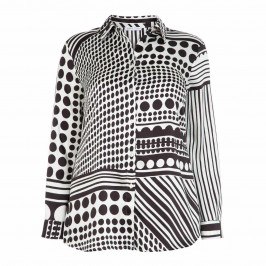 LUISA VIOLA SATIN MONOCHROME PRINT SHIRT - Plus Size Collection