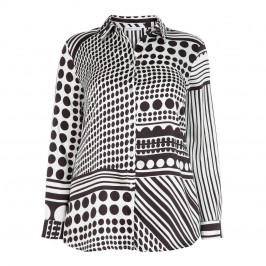 LUISA VIOLA SATIN MONOCHROME PRINT SHIRT - Plus Size Collection