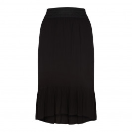 BEIGE LABEL DIPPED HEM BLACK COTTON SKIRT  - Plus Size Collection