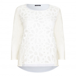 Luisa Viola textured floral blue and ivory SWEATER - Plus Size Collection