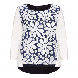LUISA VIOLA textured floral navy and ivory SWEATER - Plus Size Collection
