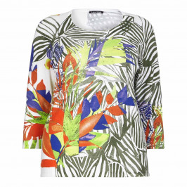 LUISA VIOLA abstract leaf print SWEATER - Plus Size Collection