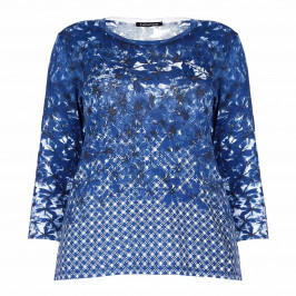 LUISA VIOLA royal blue print SWEATER - Plus Size Collection