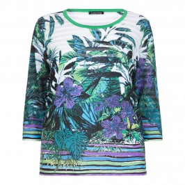 Luisa Viola emerald tropical print SWEATER - Plus Size Collection