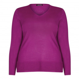 LUISA VIOLA pink v-neck SWEATER - Plus Size Collection
