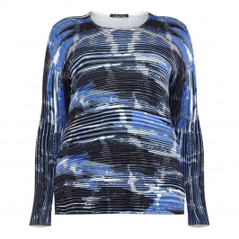 LUISA VIOLA BLUE ABSTRACT HORIZONTAL STRIPE SWEATER - Plus Size Collection