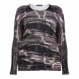 LUISA VIOLA PINK ABSTRACT HORIZONTAL STRIPE SWEATER - Plus Size Collection