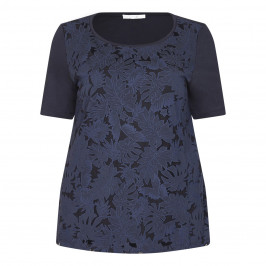 LUISA VIOLA NAVY T-SHIRT BOTANICAL CUT-OUT FRONT - Plus Size Collection