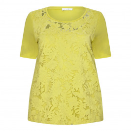 LUISA VIOLA LIME T-SHIRT BOTANICAL CUT-OUT FRONT - Plus Size Collection