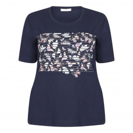 LUISA VIOLA NAVY BUTTERFLY PRINT T-SHIRT  - Plus Size Collection
