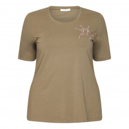 LUISA VIOLA OLIVE GREEN EMBELLISHED T-SHIRT - Plus Size Collection