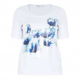 LUISA VIOLA WHITE T-SHIRT WITH EMBELLISHED PANEL - Plus Size Collection