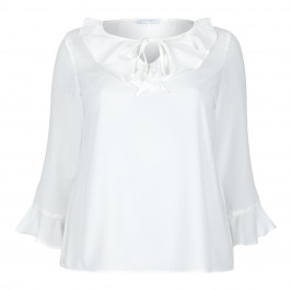 LOUISA VIOLA FRILL NECK TOP WITH BELL CUFF - Plus Size Collection