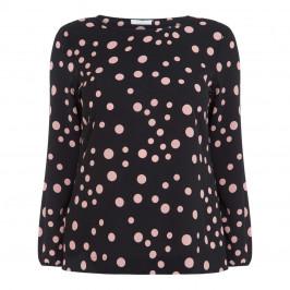 LUISA VIOLA SPOT PRINT TOP BLACK - Plus Size Collection