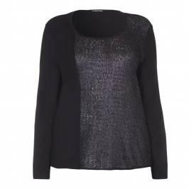 LUISA VIOLA CROC TEXTURE BLACK JERSEY TOP - Plus Size Collection