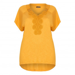 LUISA VIOLA mustard TOP with crochet detail - Plus Size Collection