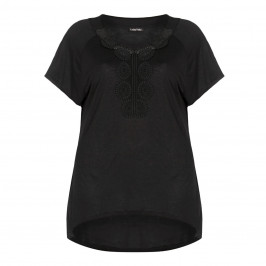 LUISA VIOLA black TOP with crochet detail - Plus Size Collection