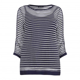 LUISA VIOLA net knit striped TOP - Plus Size Collection