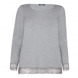 LUISA VIOLA GREY JERSEY TOP WITH LACE HEM - Plus Size Collection