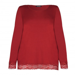 LUISA VIOLA RED JERSEY TOP WITH LACE HEM - Plus Size Collection