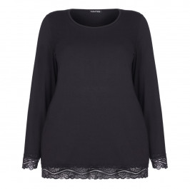 LUISA VIOLA BLACK JERSEY TOP WITH LACE HEM - Plus Size Collection