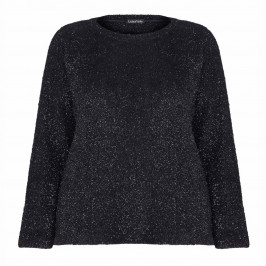 LUISA VIOLA BLACK FLUFFY ROUND NECK SWEATER WITH LUREX DETAIL - Plus Size Collection