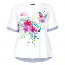 LUISA VIOLA WHITE JERSEY FRONT FLORAL PRINT TOP  - Plus Size Collection
