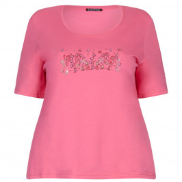 LUISA VIOLA pink embellished scoop neck TOP - Plus Size Collection