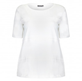 LUISA VIOLA WHITE COTTON JERSEY GROSSGRAIN APPLIQUE TOP  - Plus Size Collection