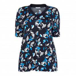 LUISA VIOLA NAVY PRINT TOP - Plus Size Collection