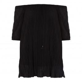 LUISA VIOLA BLACK PLISSE TUNIC BARDOT NECKLINE - Plus Size Collection