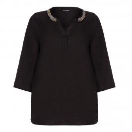 LUISA VIOLA embellished black linen TUNIC - Plus Size Collection