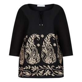 LUISA VIOLA EMBROIDERED TUNIC BLACK - Plus Size Collection