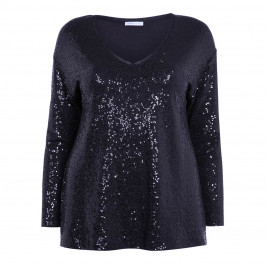 LUISA VIOLA V-NECK SEQUIN TOP NAVY - Plus Size Collection