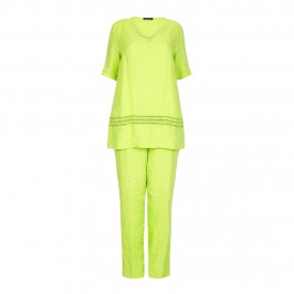 Luisa Viola Lime Green linen outfit - Plus Size Collection